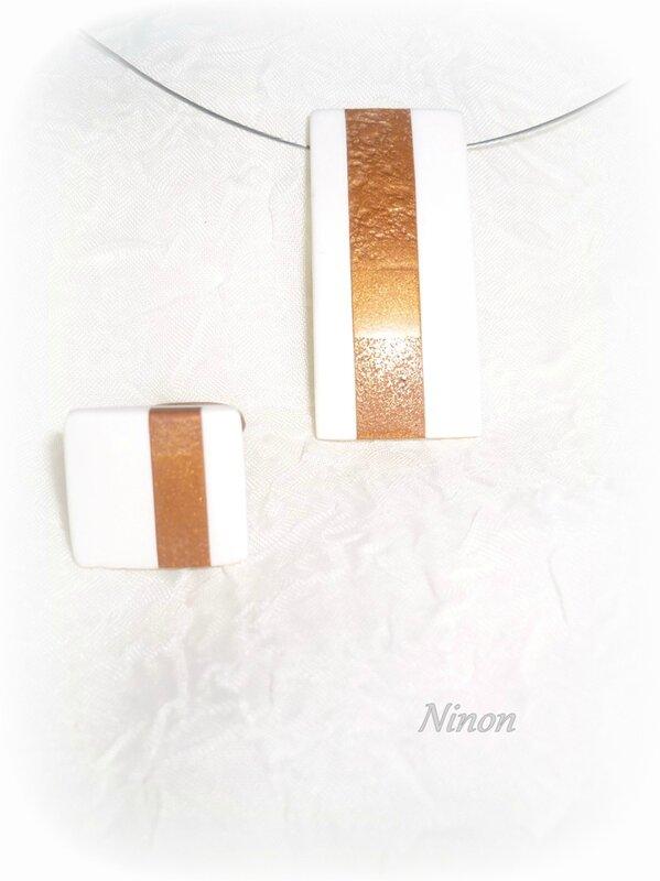 Ninon - Pendentif et bague blanc et or - 2