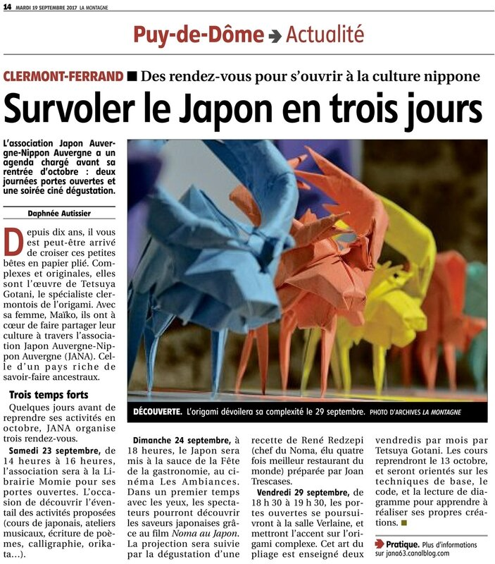 article Journal La Montagne 19092017 JANA