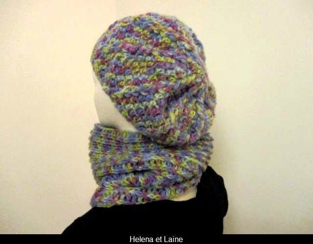 Ensemble bonnet et snood multicolor au crochet2
