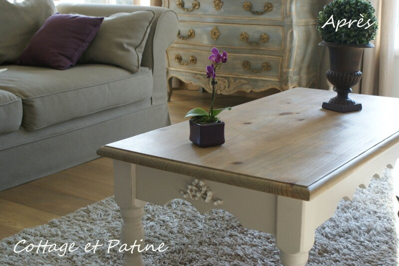 table basse photo de nouvelle vie pour meubles cottage et patine le blog. Black Bedroom Furniture Sets. Home Design Ideas