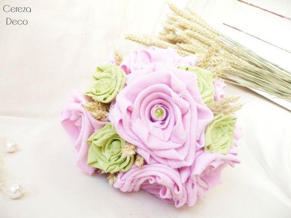 mariage champêtre chic déco bouquet mariée original tissu rose vert blé lin cereza deco 5