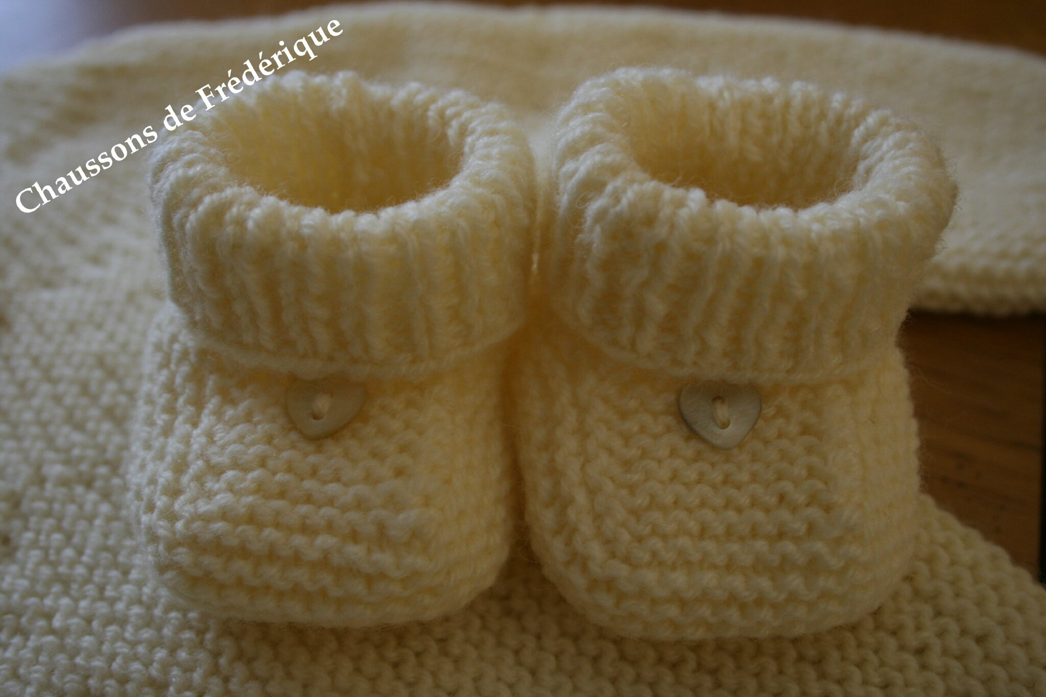 Tricot Layette – Chaussons citrouille ou hollandais – patchcath