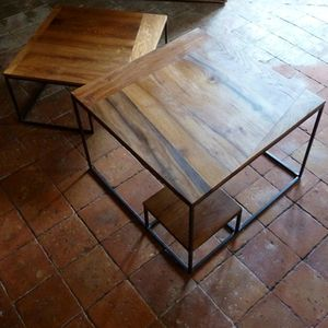 table basse chene metal (6)