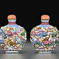 A molded and famille rose enameled porcelain snuff bottle, qianlong mark, 1800-1850