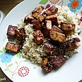 Tofu mariné et caramélisé au sésame