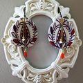 Boucles d'oreilles en tissu, chaînette et perles