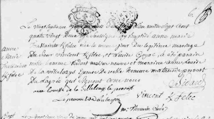 1782 naissance Anne Marie Toussainte Kerfelec à Malestroit