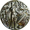 Bouton laiton argenté embossé fin xixe s. - chevalier en armure.