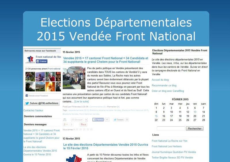 SUIVEZ L' ACTUALITE DE LA CAMPAGNE :ELECTIONS DEPARTEMENTALES / CANDIDATS VENDEE / 2015 / LE BLOG