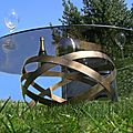 Table basse design, intérieur et extérieur, pied métallique plateaux verre trempé