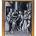 Plaque en émail peint en grisaille à rehauts d'or représentant le christ devant anne, atelier de colin nouailher, limoges, xvièm