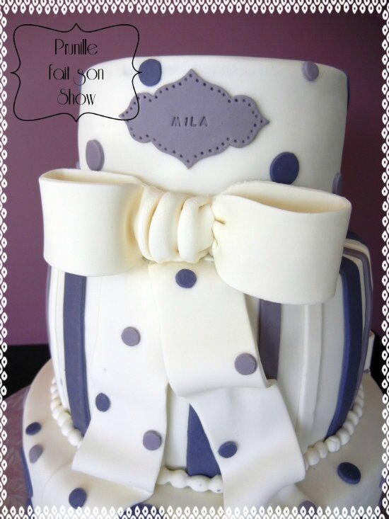 gateau 3 étages violet blanc pois rayures noeud prunillefee 2