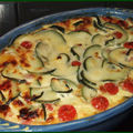 Clafoutis courgette, tomates et munster