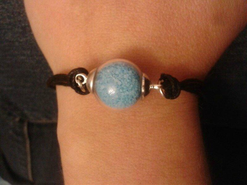 bracelet boules bleue