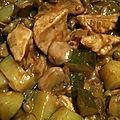 Wok de poulet au vinaigre balsamique, courgette et champignons