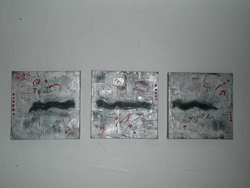 Tableau contemporain le labyrinthe taupe marron or for Tableau taupe et blanc