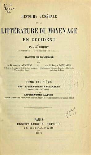 Histoire Littérature Moyen-Âge Ebert (1)