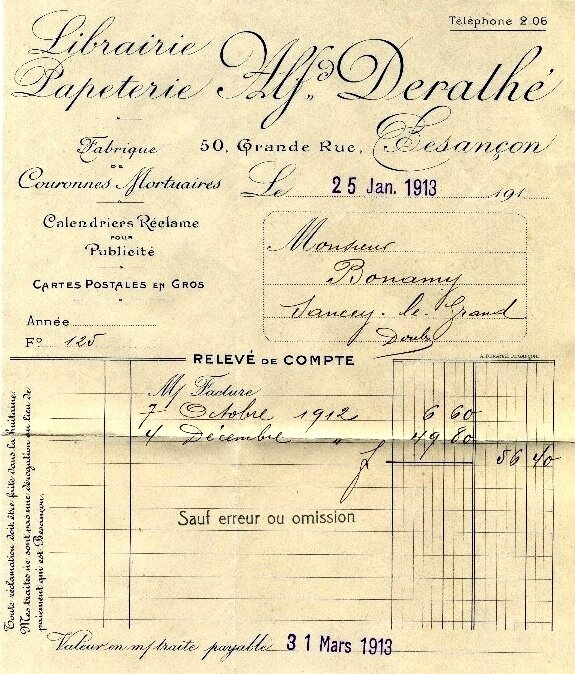 librairie papeterie Alfred Derathé relevé de compte