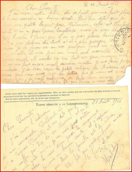 CARTE AUGUSTIN 14 ET 21 AOUT 1915