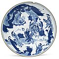 A large blue and white 'immortals' dish, early 17th century