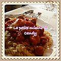 Escalopes de poulet tomate/curry/mozzarella
