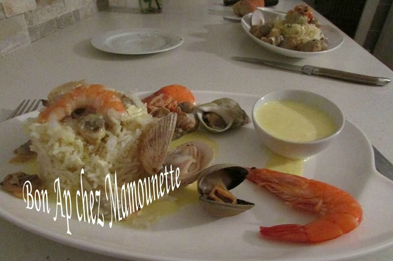 riz basmati bulots, praires, palourdes, crevettes, sauce curcuma 015