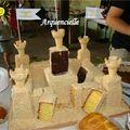 Château de sable gâteau coupé