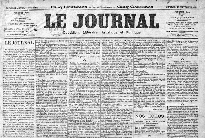 Le Journal 28 septembre 1892