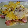 Gratin de pommes de terre à la saucisse et au cheddar