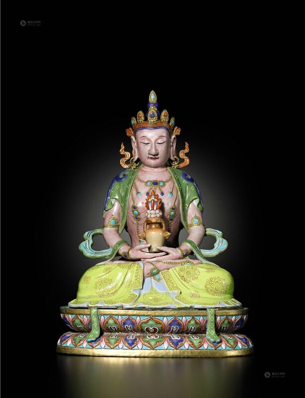 An exceptionally fine and rare famille-rose seated figure of Amitayus, Qing dynasty, Qianlong period