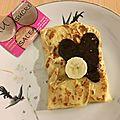 Crepes moelleuses au lait de coco, bananes-chocolat noir