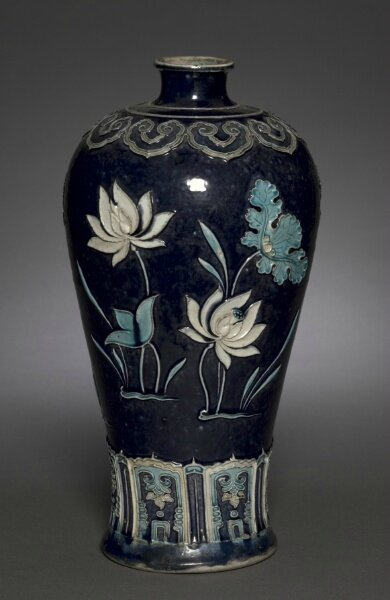 Prunus Vase (Meiping) with Blossoming Lotus, Fahua Ware, late 15th Century, China, Jiangxi province, Jingdezhen kilns, Ming dynasty (1368-1644)