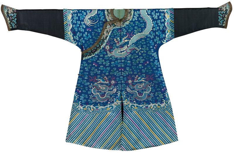 An extremely rare embroidered blue silk dragon robe for a seventh to ninth rank civil official in the imperial board of state music, jifu, Early Guangxu period, circa 1885