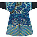 An extremely rare embroidered blue silk dragon robe, jifu, early guangxu period, circa 1885