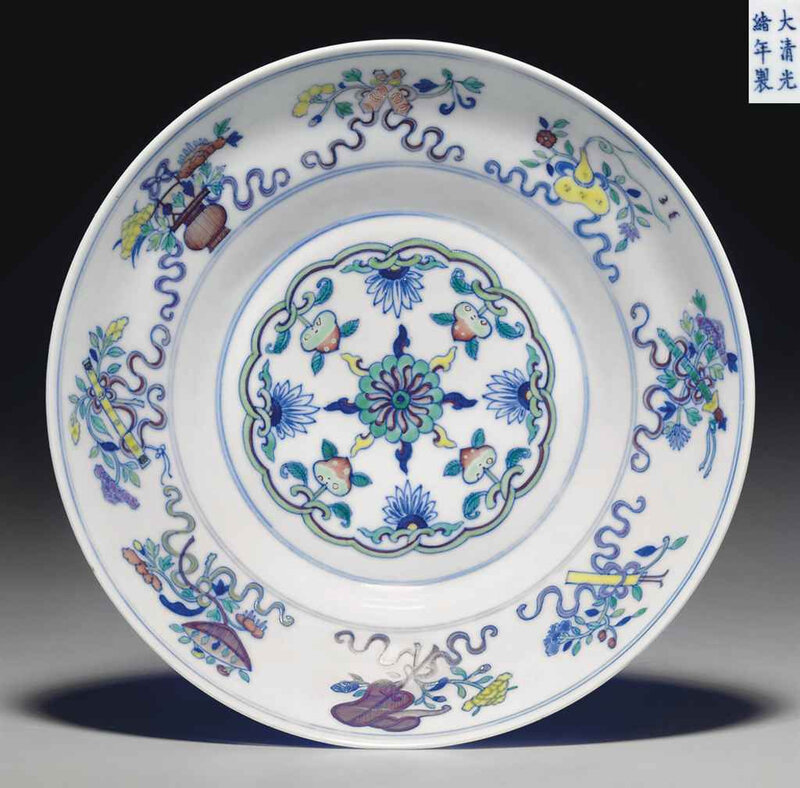 A doucai ogee-form bowl, Guangxu six-character mark in underglaze blue and of the period (1875-1908)
