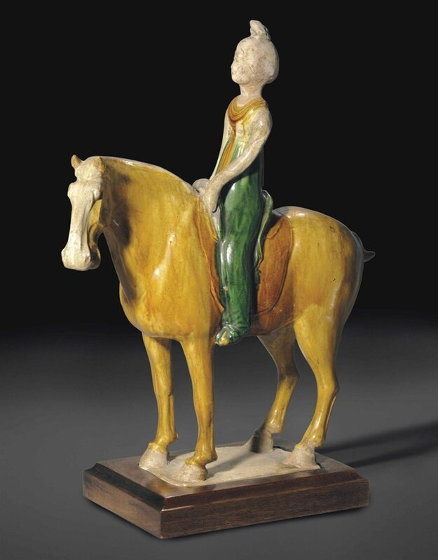 A sancai-glazed pottery figure of an equestrienne, Tang dynasty (AD 618-907)