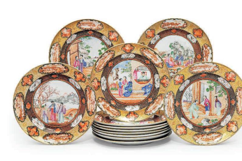 A set of twelve 'Rockefeller pattern' side plates, Jiaqing period, circa 1805