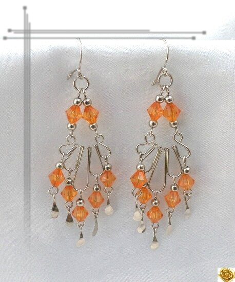 Boucles D'Oreilles Suyay Perles Toupies Crystal Orange 6 mm Artisanat du Pérou