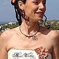 Collier mariage fil alu marron chocolat perles nacre