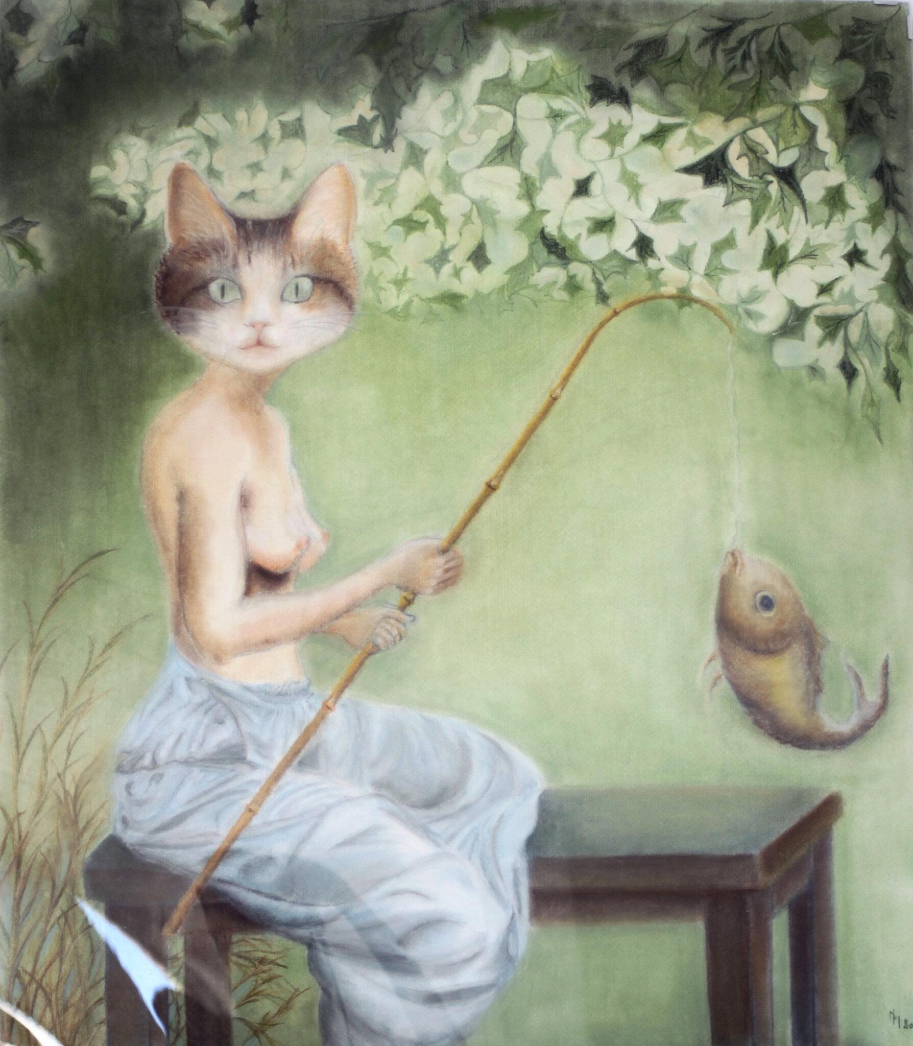 Chat qui Pêche de Nicole