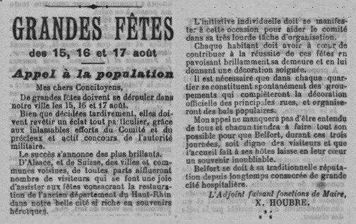 1919 08 14 Fêtes patriotiques La Frontière p1aRR