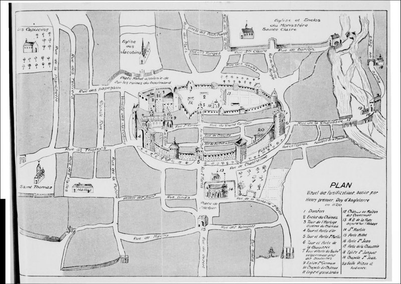 plan visuel des fortifications d'Argentan baties par Henri premier Roy d'Angleterre en 1120