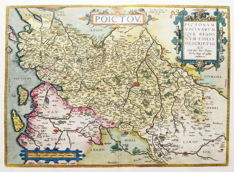 Vers 1590 Poitou Pictonum, vicinarumque regionum fidissa, descriptio, auctore Petro Rogiero,