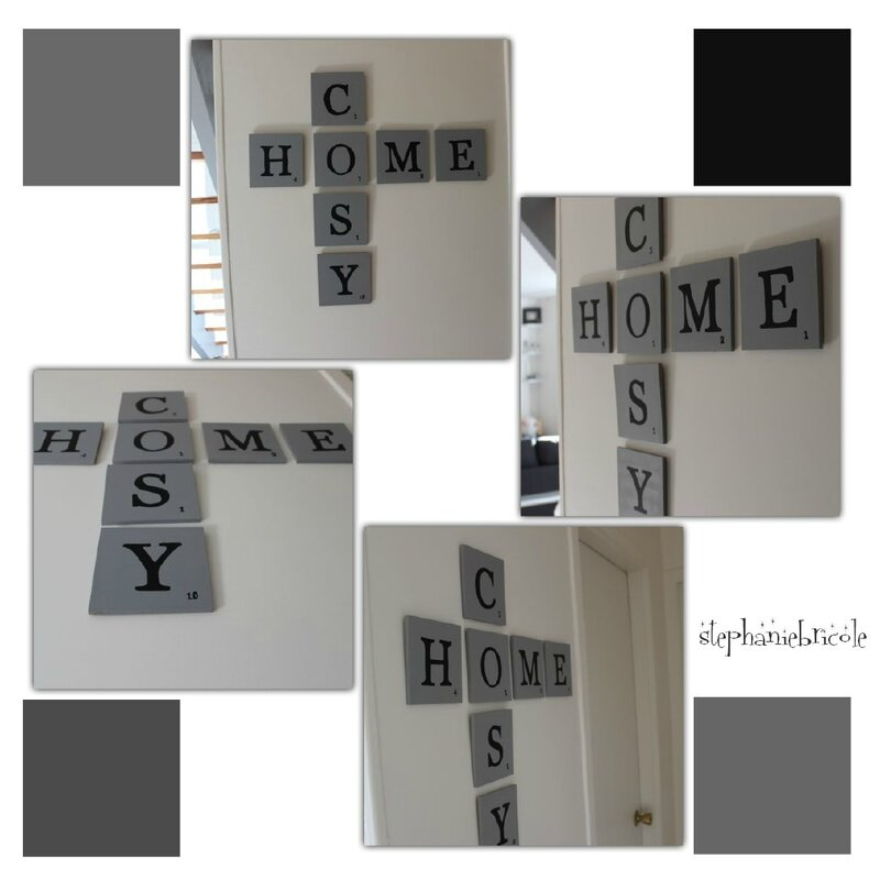 diy une d co murale inspiration scrabble st phanie bricole. Black Bedroom Furniture Sets. Home Design Ideas