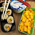 Makis avocat - mangue, yaourt, mangue