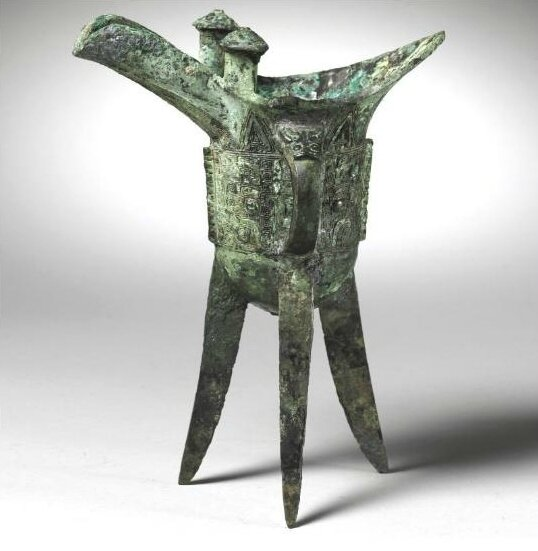 An Archaic bronze drinking vessel, jue, Shang Dynasty (c
