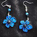 Boucles fleurs bleues et noires 8 euros