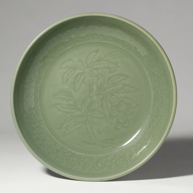 An Imperial Longquan celadon dish, Ming Dynasty, Yongle period (1403-1424)