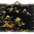 A rare and large embellished black lacquer panel, qing dynasty, kangxi period (1662-1722)
