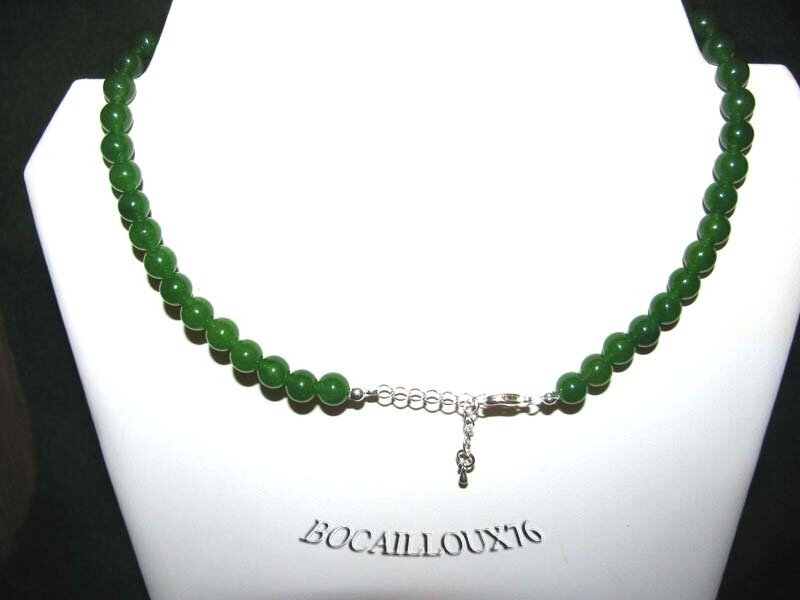 COLLIER JADE 1 PERLES 8mm - ATTACHE ARGENTEE